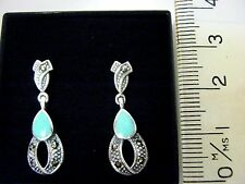 Sterling Silver Turquoise Marcasite 2.5cm Drop Dangle Earrings Victorian Vintage