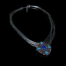 7 Strand .925 Liquid Sterling Silver Natural Turquoise Red Coral Lapis Necklace