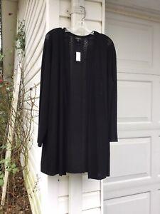 NWT Talbots Pretty Black Cardigan Sweater With Open Weave Stripes 3X 22W 24W