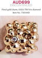 Pandora Retired Rare 14k Yellow Gold Diamond Floral Charm, 750344D