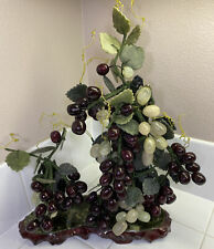 Vintage Sculpture Jade Grape Clusters Vine Bonsai Tree On Granite & Wood Base