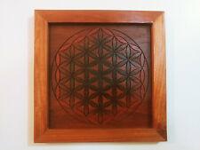 Laser Burned Geometric Wall Art - Stained Wood Panel w/ Brazillian Cherry Frame