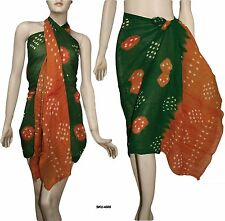 100% Cotton Tie & Dyed Beach Scarf Sarong Wrap Pareo Bikini Cover Up Dress 4505