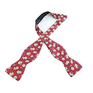 Burberrys Bow Tie Red Floral Flowers Spring Pattern Adjustable All Silk