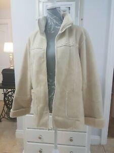 Hucke Womens Ivory-cream Faux Fur Shearling Coat Jacket Size 14