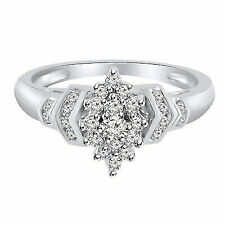 1/4 Ct Natural Diamond 14k White Gold Over Cluster Engagement Ring