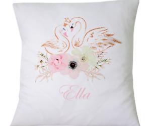 "Personalised swans - 16"" white cushion cover shabby nursery/wedding chic"