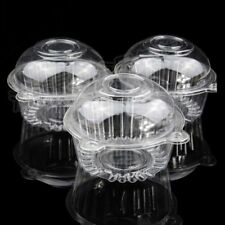 50 Individual Clear Plastic Single Cup Cake Pastries Case Pods Domes Boxes UK