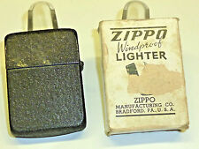 VINTAGE 1943-45 WWII BLACK CRACKLE ZIPPO LIGHTER - PAT. 2032695 - OVP -VERY RARE