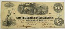 Nice! 1862 $100 Steam Engine Train Confederate States of America Note #20371F