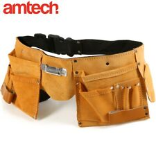 More details for 11 pocket leather tool belt professional joiners apron nail screw hammer loop uk