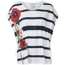 Desigual Damen T-Shirt Maritimer Streifen Print floral Blumen Oversize Schnitt