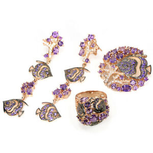 NATURAL AAA PURPLE AMETHYST & CZ STERLING 925 SILVER 2-TONE FISH SET SIZE 8.5