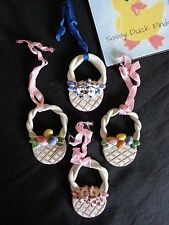 """EASTER ORNAMENTS Lot of 4 Baskets with Eggs and Flowers 3"""" White Glaze Clay"""