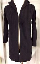 OLD NAVY Sweater Black Cotton Full Length SZ M HOODED Cotton EUC