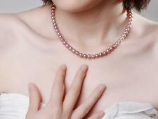 Echte Süßwasser Zucht Perlen,7.5-8.5mm,Perlenkette,Armband,Lila Kette,19cm-80cm