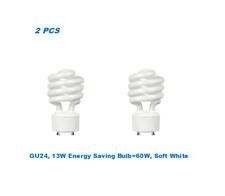 2 Bulbs, Twister GU24,13W Energy Saving Bulb= 60W, Warm White 2700K, UL Listed