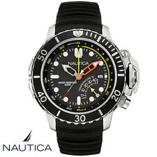 Nautica . NAD47500G. Armband Uhr Herren . NMX Dive Style . Silikon schwarz . NEU