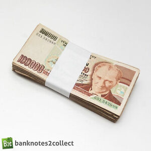 TURKEY: 100 x 100,000 Turkish Lira Banknotes. Full Bundle.