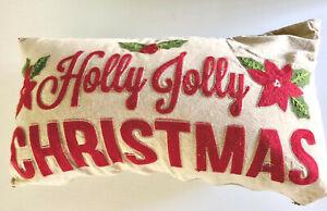 "Christmas Linen Throw Pillow ""Holly Jolly Christmas"" 21"" x 11"" Preowned"