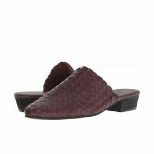 Vince Women Low Heel Mules Galena Bordeaux Red Woven Leather