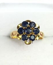14k Solid Gold Yellow Gold Cluster Flower Ring Natural Sapphire 1.75TCW, Sz 7
