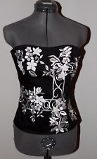 White House Black Market Black Embroidered Strapless Sexy Bustier Corset Sz 0