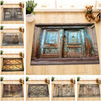 "20 Type Rustic Retro Wood Barn Door 24x16"" Kitchen Bathroom Rug Bath Door Mat"