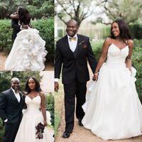White Ivory Sweetheart Wedding Dresses Bridal Gowns V Neck Sleeveless Princess