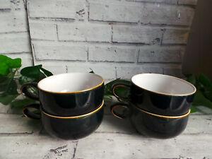 DENBY JET BLACK COFFEE 10.5cm WIDE CUPS X4