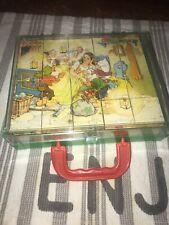 Vintage Herman Eichhorn Block Puzzle Fairy Tales plastic case Germany SNOW WHITE