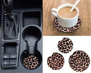 Set of 2 or 4 Leopard Print Neoprene Fabric Cheetah Car Coaster For Cup Holders