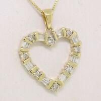 14K Yellow Gold 0.70ctw Round & Baguette Cut Diamond Open Heart Pendant Necklace