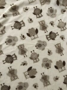 Pottery Barn Kids Owl Toddler Crib Bed Fleece Fitted Sheet White Brown