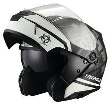 Triangle Motorcycle Helmet Modular Dual Visor Flip Up [ DOT ] White - Medium
