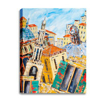Canvas Abstract City Print Wall Art Framed Picture for Living Room Bedroom Decor