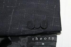 "THEORY Men's 36R Black w/ White Streak Wool ""CAMBRIA"" Blazer"