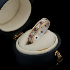 Antique Vintage Art Deco Style 9k White & Rose Gold Red Ruby Band Ring Sz 6.75