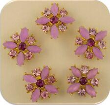 2 Hole Beads X Flowers Lilac & Amethyst Swarovski Crystal Elements Sliders QTY 5
