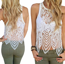 Summer Beachwear Ivory/Cream Eye Lash Lace Vest Crop/Cropped Top Size 10-12