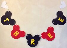 GIRLS 3rd BIRTHDAY MICKEY MOUSE STYLE PARTY BANNER BLACK AND RED