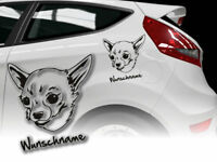 Aufkleber Chien Chihuahua  H127 Hundeaufkleber Wunschname Auto