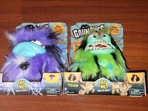 Lot of 2 GRUMBLIES * TREMOR & BOLT Interactive Pet Monster 40+ Sounds w Motion