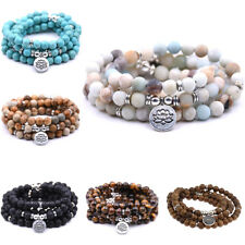 8MM Fashion Natural Stone Bracelets 108 Mala Yoga Necklace Smooth Jewelry Gift