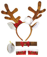 Reindeer Antlers Ears Headband Choker Tail Wrist Cuffs Costume Accessory Set