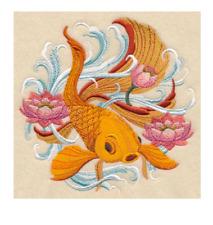 CUSTOM EMBROIDERED JAPANESE GOLDFISH LOTUS FLOWER  BATH HAND TOWEL SET