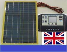 20w Light Solar Panel + 10A LCD 12v 24v Battery Charger  2 x 5V USB + 4m cable