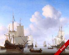 DUTCH NAVY MEN O WAR SHIPS ON CALM SEAS BAY PAINTING ART REAL CANVAS PRINT