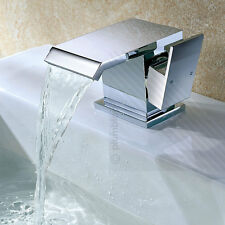 ECOSPA Square Wide WATERFALL Bathroom Basin Mixer Tap in Chrome - Includes Waste