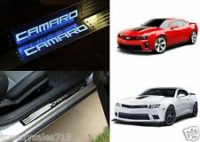 Blue LED Illuminated Door Sill Scuff Covers For 2011-2015 Chevrolet Camaro New